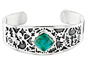 Turquoise Rhodium Over Sterling Silver Cuff Bracelet