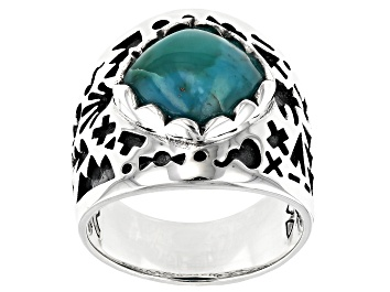Picture of Turquoise Cabochon Rhodium Over Silver Solitaire Ring