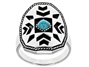 Mens Turquoise Rhodium Over Silver Ring