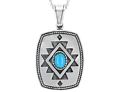 "Turquoise Rhodium Over Silver Enhancer With 20"" Chain"
