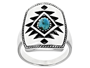 Mens Turquoise Cabochon Rhodium Over Silver Solitaire Ring