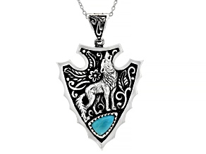 "Mens Turquoise Rhodium Over Silver Wolf Arrowhead Enhancer With 20"" Chain"