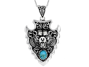 Mens Turquoise Rhodium Over Silver Bear Arrowhead Enhancer With 20