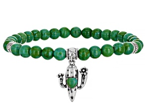 Childrens Green Turquoise Rhodium Over Silver Cactus Stretch Bracelet