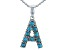 Turquoise Rhodium Over Silver A Initial Pendant With 18 Chain