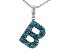 Turquoise Rhodium Over Silver B Initial Pendant With 18 Chain