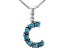 Turquoise Rhodium Over Silver C Initial Pendant With 18 Chain