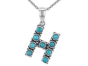 "Turquoise Rhodium Over Silver ""H"" Initial Pendant With 18"" Chain"