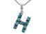Turquoise Rhodium Over Silver H Initial Pendant With 18 Chain