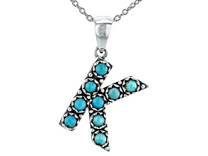 Turquoise Rhodium Over Silver K Initial Pendant With 18 Chain