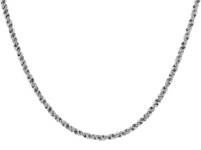 "2mm Rhodium Over Silver 24.5"" Rope Chain"