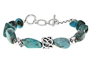 Mens Turquoise Rhodium Over Silver Mens Bracelet