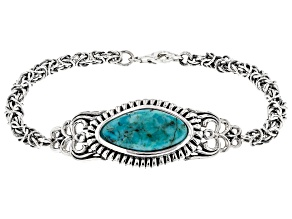 Blue Turquoise Rhodium Over Silver Men's Bracelet