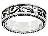 Mens Rhodium Over Silver Band Ring
