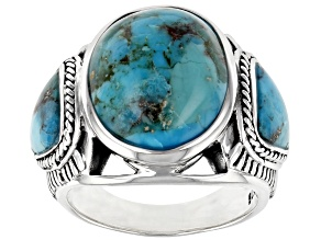 Mens Mixed Shapes Turquoise Cabochon Rhodium Over Silver Ring