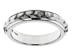 Mens Rhodium Over Silver And Leather Band Ring