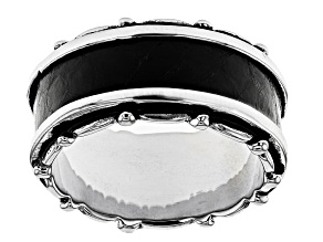 Mens Rhodium Over Silver And Inlaid Black Leather Band Ring