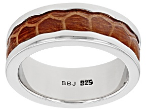 Mens Rhodium Over Silver And Inlaid Brown Leather Band Ring