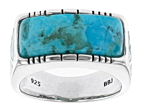 Mens Inlaid Turquoise Rhodium Over Silver Ring
