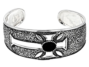 Mens 11x9mm Oval Black Onyx Rhodium Over Silver Cross Cuff Bracelet
