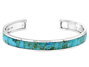 Mens Turquoise Inlay Rhodium Over Sterling Silver Cuff Bracelet