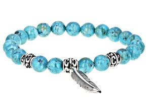 Mens Turquoise Rhodium Over Silver Stretch Bracelet