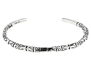 Mens Rhodium Over Silver Tribal Design Cuff Bracelet