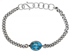 Mens Blue Turquoise Rhodium Over Sterling Silver Bracelet