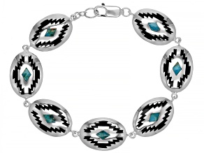 Mens Turquoise Rhodium and Enamel Over Silver Bracelet