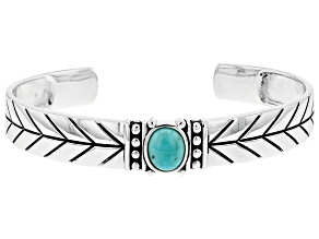 Mens Blue Turquoise Sterling Silver Cuff Bracelet