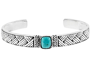 Mens Blue Turquoise Rhodium Over Silver Cuff Bracelet