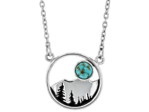 Childrens Turquoise Rhodium Over Sterling Silver Mountain Necklace