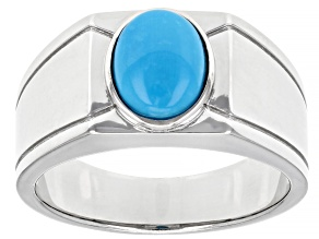 Mens Sleeping Beauty Turquoise Rhodium Over Silver Ring