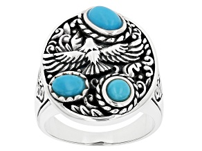 Mens Sleeping Beauty Turquoise Rhodium Over Silver Eagle Ring