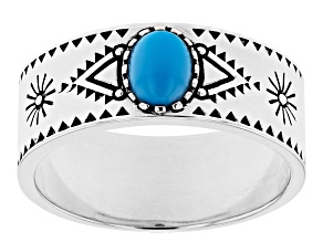Mens Sleeping Beauty Turquoise Rhodium Over Silver & Black Enamel Ring