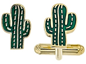 Mens Green Enamel 18k Yellow Gold Over Sterling Silver Cactus Cufflinks