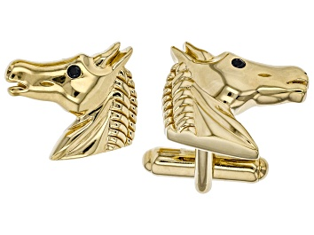 Picture of Mens Black Spinel 18k Gold Over Silver Horse Cufflinks .09ctw