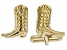 Mens 18k Yellow Gold Over Sterling Silver Cowboy Boot Cufflinks