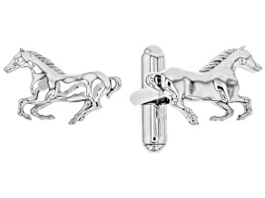 Mens Rhodium Over Sterling Silver Horse Cufflinks