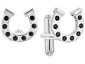 Mens Black Spinel Rhodium Over Silver Horseshoe Cufflinks .68ctw