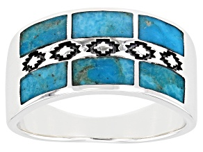 Mens Turquoise Rhodium Over Sterling Silver Inlay Band Ring