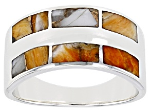 Mens Spiny Oyster Shell Rhodium Over Silver Inlay Band Ring