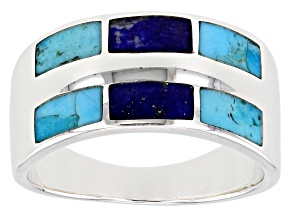 Mens Turquoise And Lapis Lazuli Rhodium Over Silver Inlay Band Ring