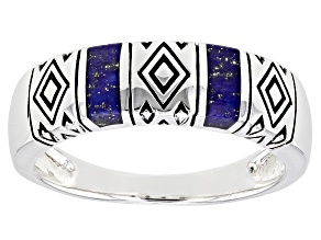 Lapis Lazuli Rhodium Over Silver Inlay Mens Band Ring