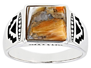 Mens Spiny Oyster Shell Rhodium Over Silver Ring