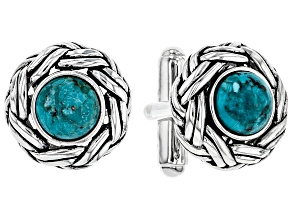 Mens Turquoise Rhodium Over Silver Cufflinks