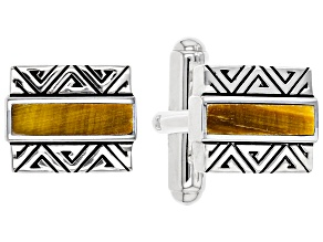 Mens Tiger's Eye Rhodium Over Silver Inlay Cufflinks