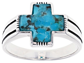 Mens Turquoise Rhodium Over Sterling Silver Cross Ring