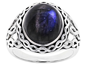 Mens Labradorite Rhodium Over Silver Ring