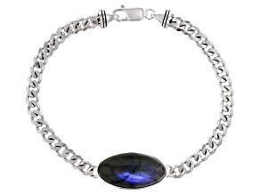 Mens Labradorite Rhodium Over Silver Bracelet